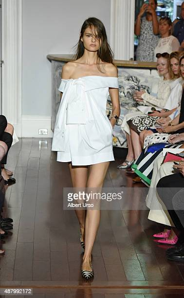 A model walks the runway at the at Monse show during Spring 2016 New York Fashion Week The Shows at the Norwood Club on September 12 2015 in New York...