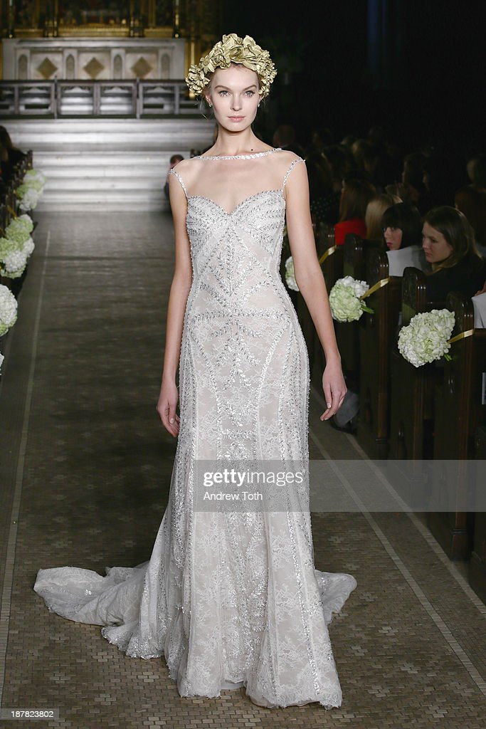 A model walks the runway at the Atelier Pronovias 2014 Show at St. James Church on November 12, 2013 in New York City.
