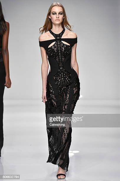 A model walks the runway at the Atelier Versace Spring Summer 2016 fashion show during Paris Haute Couture Fashion Week on January 24 2016 in Paris...