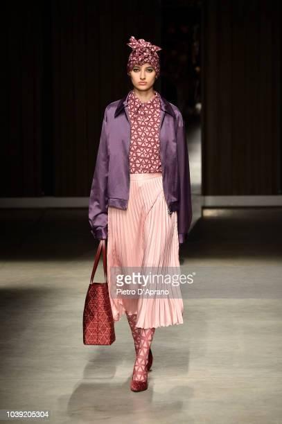 A model walks the runway at the Atsushi Nakashima show during Milan Fashion Week Spring/Summer 2019 on September 24 2018 in Milan Italy