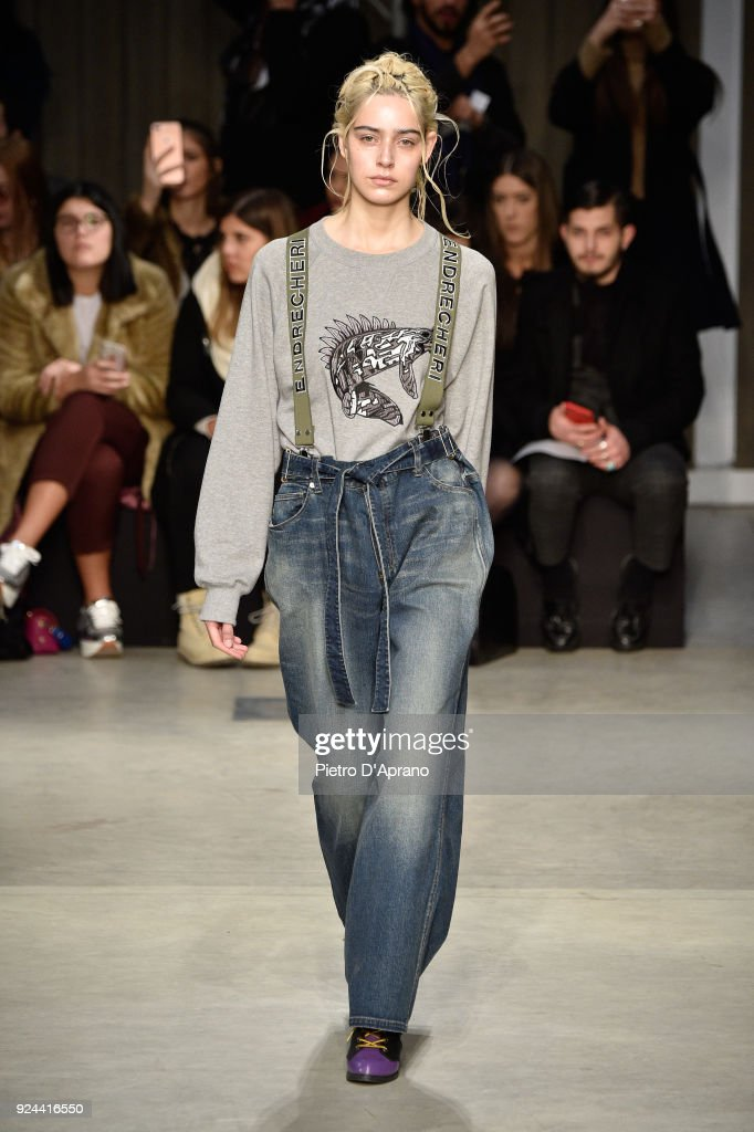 A model walks the runway at the Atsushi Nakashima show during Milan Fashion Week Fall/Winter 2018/19 on February 26, 2018 in Milan, Italy.
