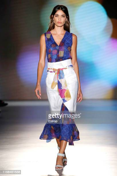 A model walks the runway at the Auergin show during Barcelona 080 Fashion Week Spring/Summer 2020 on June 26 2019 in Barcelona Spain