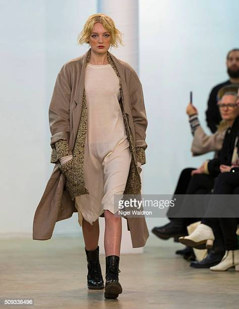 A model walks the runway at the AUMA/ GRAA / Arct / Christina Ledang show during the Fashion Week Oslo Autumn/Winter 2016/2017 at the F5 Showcase...