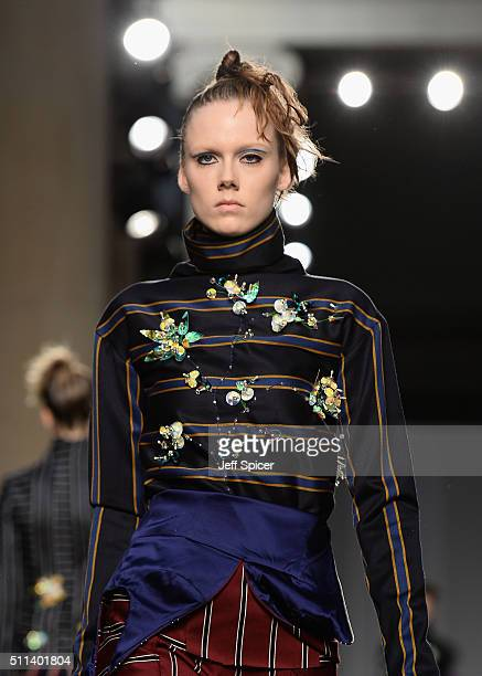 A model walks the runway at the AV Robertson Fashion East show during London Fashion Week Autumn/Winter 2016/17 at TopShop Show Space on February 20...