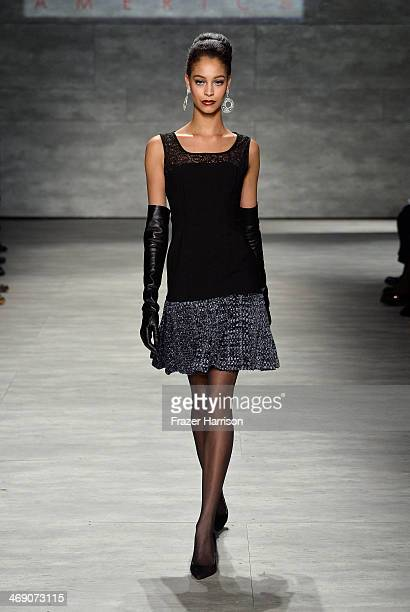 A model walks the runway at the B Michael America fashion show during MercedesBenz Fashion Week Fall 2014 at The Pavilion at Lincoln Center on...
