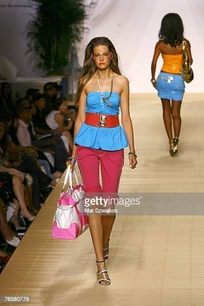 A model walks the runway at the Baby Phat Spring 2008 Fashion Show during the MercedesBenz Fashion Week Spring 2008 at Roseland Ballroom on September...