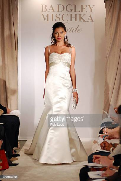 Model walks the runway at the Badgley Mischka Bridal fashion show at the Jumeirah Essex House on April 14, 2007 in New York City.