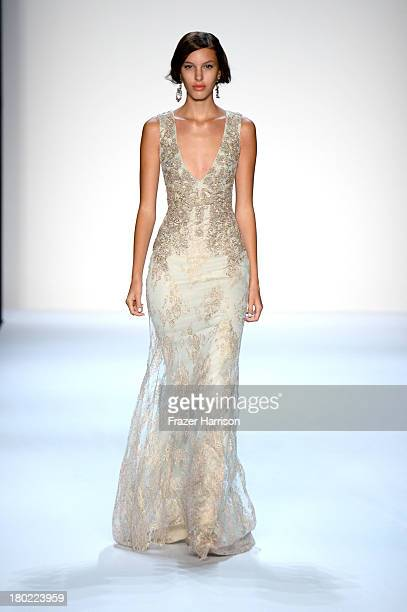 A model walks the runway at the Badgley Mischka fashion show during MercedesBenz Fashion Week Spring 2014 on September 10 2013 in New York City