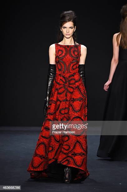 A model walks the runway at the Badgley Mischka fashion show during MercedesBenz Fashion Week Fall 2015Theatre at Lincoln Center on February 17 2015...