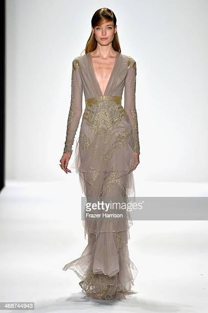 A model walks the runway at the Badgley Mischka fashion show during MercedesBenz Fashion Week Fall 2014 at Lincoln Center on February 11 2014 in New...