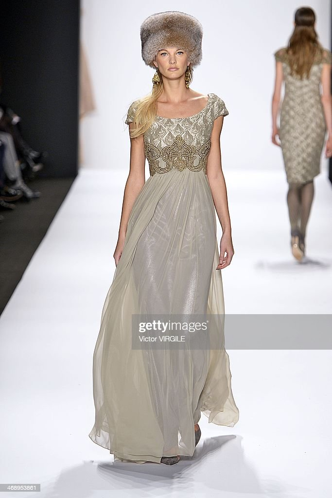 eaf46d942bb A model walks the runway at the Badgley Mischka Ready to Wear Fall Winter  2014