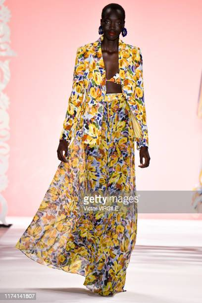 A model walks the runway at the Bagdley Mischka Ready to Wear Spring/Summer 2020 fashion show during New York Fashion Week on September 11 2019 in...