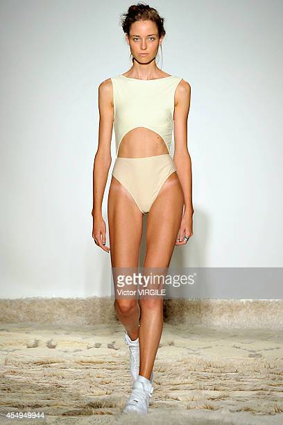A model walks the runway at the Baja East fashion show during MercedesBenz Fashion Week Spring 2015 on September 6 2014 in New York City