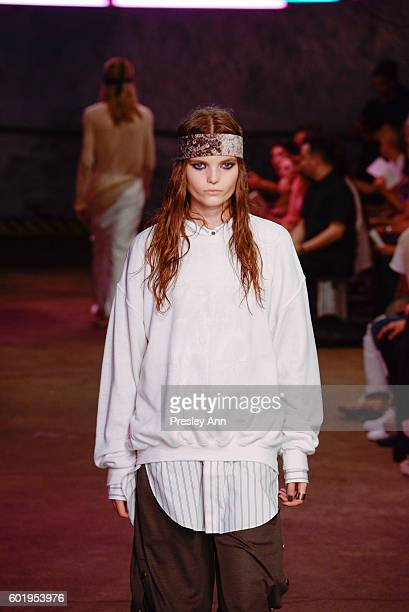 A model walks the runway at the Baja East Fashion Show during New York Fashion Week at 25 Beekman on September 9 2016 in New York City