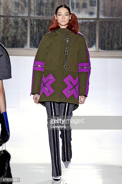 A model walks the runway at the Balenciaga Autumn Winter 2014 fashion show during Paris Fashion Week on February 27 2014 in Paris France