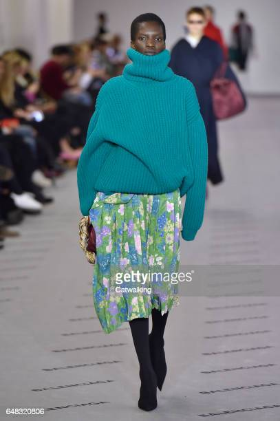 A model walks the runway at the Balenciaga Autumn Winter 2017 fashion show during Paris Fashion Week on March 5 2017 in Paris France