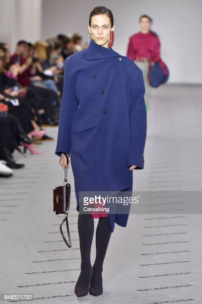 A model walks the runway at the Balenciaga Autumn Winter 2017 fashion show during Paris Fashion Week on March 5 2017 in Paris France