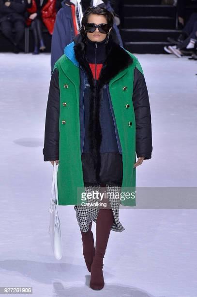 A model walks the runway at the Balenciaga Autumn Winter 2018 fashion show during Paris Fashion Week on March 4 2018 in Paris France