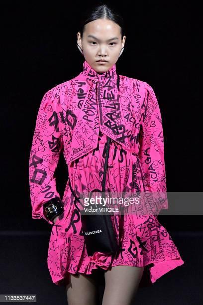 Model walks the runway at the Balenciaga Ready to Wear fashion show at Paris Fashion Week Autumn/Winter 2019/20 on March 3, 2019 in Paris, France.