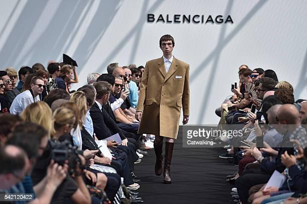 Model walks the runway at the Balenciaga Spring Summer 2017 fashion show during Paris Menswear Fashion Week on June 22, 2016 in Paris, France.