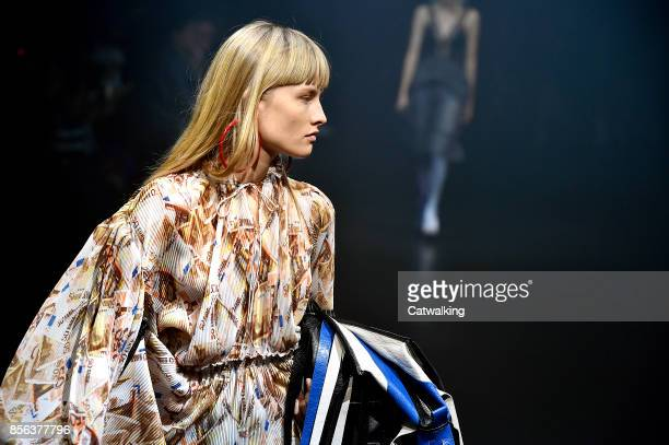 Model walks the runway at the Balenciaga Spring Summer 2018 fashion show during Paris Fashion Week on October 1, 2017 in Paris, France.
