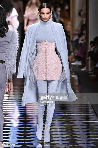 A model walks the runway at the Balmain Autumn Winter 2016 fashion show during Paris Fashion Week on March 3 2016 in Paris France