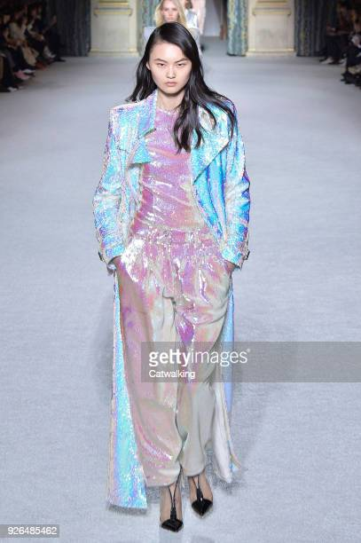 A model walks the runway at the Balmain Autumn Winter 2018 fashion show during Paris Fashion Week on March 2 2018 in Paris France