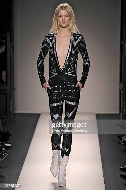 A model walks the runway at the Balmain fashion show during Paris Fashion Week on March 3 2011 in Paris France