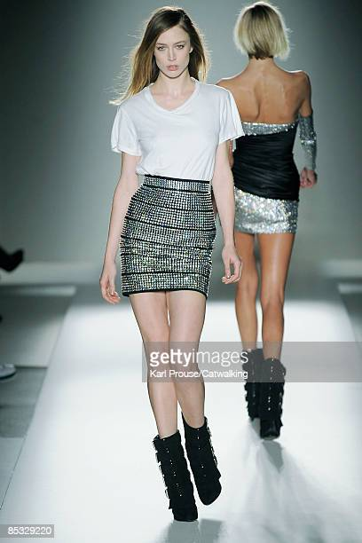 A model walks the runway at the Balmain ReadytoWear A/W 2009 fashion show during Paris Fashion Week at Hotel Ritz on March 5 2009 in Paris France