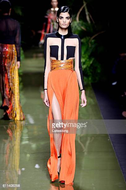 Model walks the runway at the Balmain Spring Summer 2017 fashion show during Paris Fashion Week on September 29, 2016 in Paris, France.