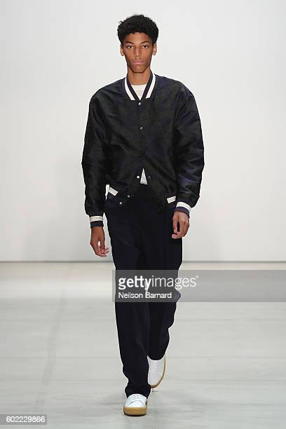 A model walks the runway at the Band of Outsiders fashion show during New York Fashion Week The Shows September 2016 at The Gallery Skylight at...