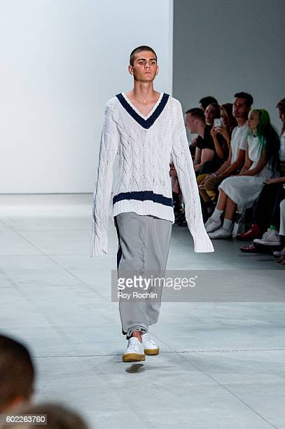 A model walks the runway at the Band Of Outsiders fashion show during New York Fashion Week September 2016 at The Gallery Skylight at Clarkson Sq on...