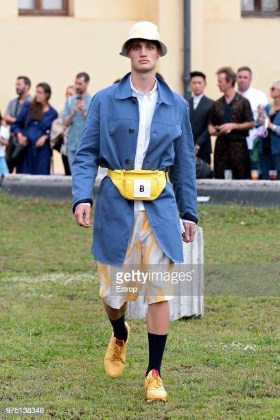 A model walks the runway at the Band Of Outsiders presentation during the 94th Pitti Immagine Uomo on June 13 2018 in Florence Italy