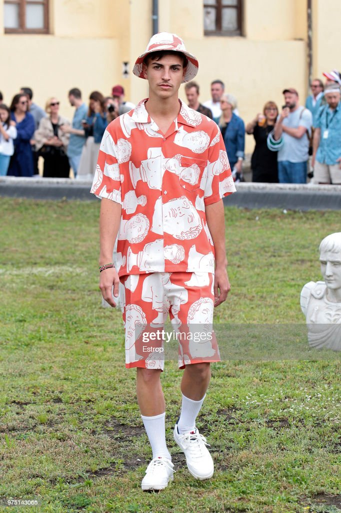 A model walks the runway at the Band Of Outsiders presentation during the 94th Pitti Immagine Uomo on June 13, 2018 in Florence, Italy.