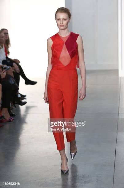 A model walks the runway at the Barbara Casasola show during London Fashion Week SS14 at White Cube Gallery on September 15 2013 in London England