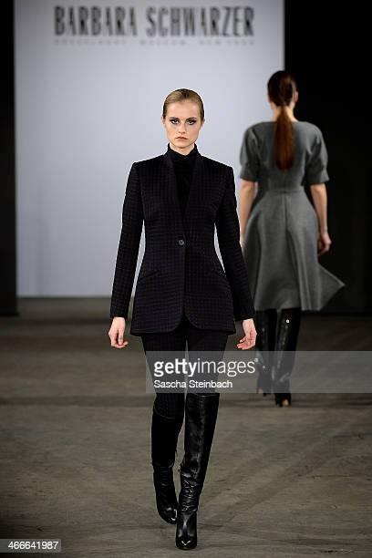 A model walks the runway at the Barbara Schwarzer fashion show during Platform Fashion Dusseldorf on February 2 2014 in Dusseldorf Germany