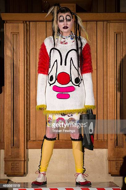 A model walks the runway at the Bas Kosters show at London Fashion Week AW14 at The Dutch Centre on February 15 2014 in London England