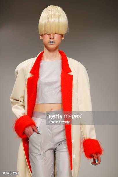 A model walks the runway at the Basharatyan V show at the Fashion Scout venue during London Fashion Week AW14 at Freemasons Hall on February 16 2014...