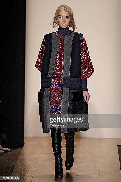 A model walks the runway at the BCBG Max Azria Autumn WInter 2015 fashion show during New York Fashion Week on February 12 2015 in New York United...