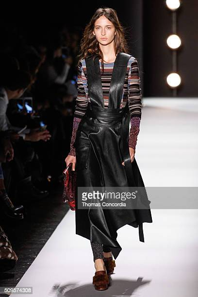 Model walks the runway at the BCBGMAXAZRIA Fall 2016 fashion show during New York Fashion Week at The Arc, Skylight at Moynihan Station on February...