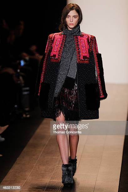 A model walks the runway at the BCBGMAXAZRIA show during MercedesBenz Fashion Week Fall 2015 at The Theatre at Lincoln Center on February 12 2015 in...