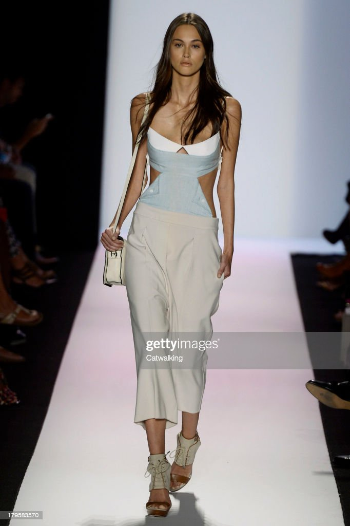 A model walks the runway at the BCBGMAXAZRIA Spring Summer 2014 fashion show during New York Fashion Week on September 5, 2013 in New York, United States.