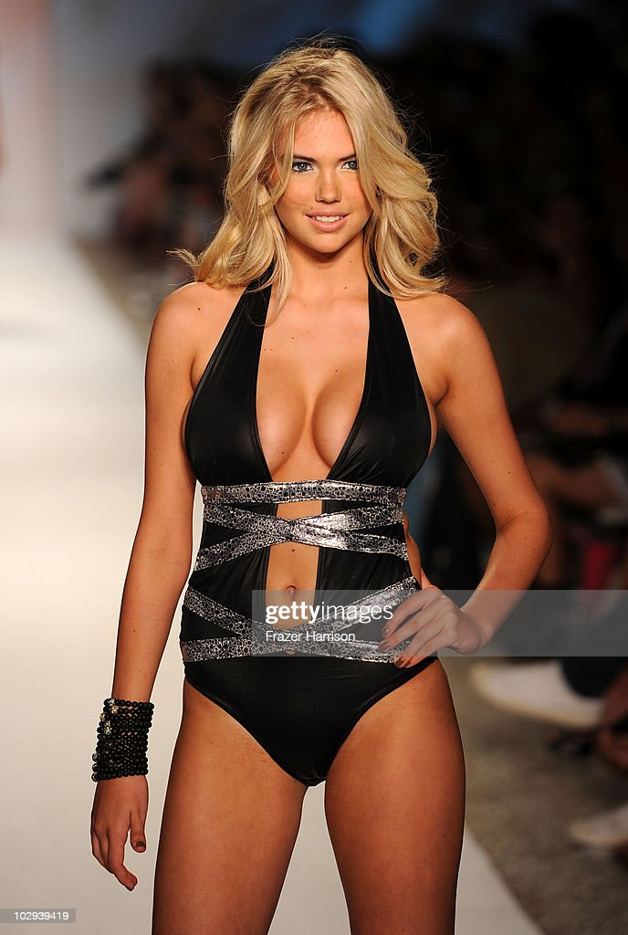 A model walks the runway at the Beach Bunny Swimwear 2011 fashion show during Mercedes-Benz Fashion Week Swim at the Raleigh on July 16, 2010 in Miami Beach, Florida.