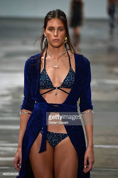 A model walks the runway at the Bec Bridge show at MercedesBenz Fashion Week Australia 2015 at Carriageworks on April 13 2015 in Sydney Australia