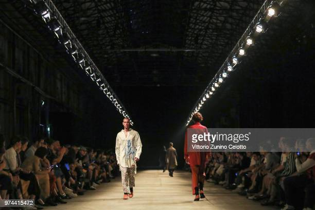 A model walks the runway at the Bed JW Ford show during the 94th Pitti Immagine Uomo on June 14 2018 in Florence Italy