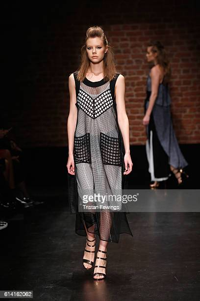 A model walks the runway at the Belma Ozdemir show during MercedesBenz Fashion Week Istanbul at Zorlu Center on October 12 2016 in Istanbul Turkey