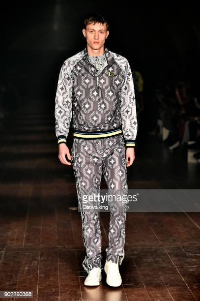 A model walks the runway at the Ben Sherman Autumn Winter 2018 fashion show during London Menswear Fashion Week on January 6 2018 in London United...
