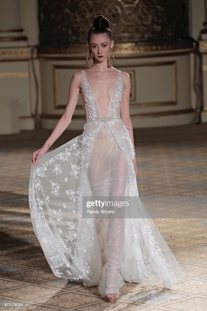 A model walks the runway at the Berta Runway show during New York Fashion Week: Bridal April 2017 at The Plaza Hotel on April 21, 2017 in New York City.