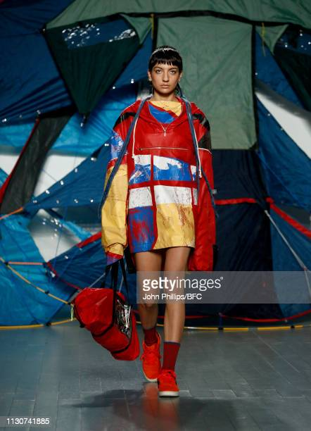 A model walks the runway at the Bethany Williams show during London Fashion Week February 2019 at the BFC Show Space on February 19 2019 in London...