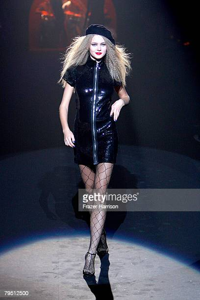 A model walks the runway at the Betsey Johnson 2008 fashion show during MercedesBenz Fashion Week Fall 2008 at The Tent at Bryant Park on February 4...